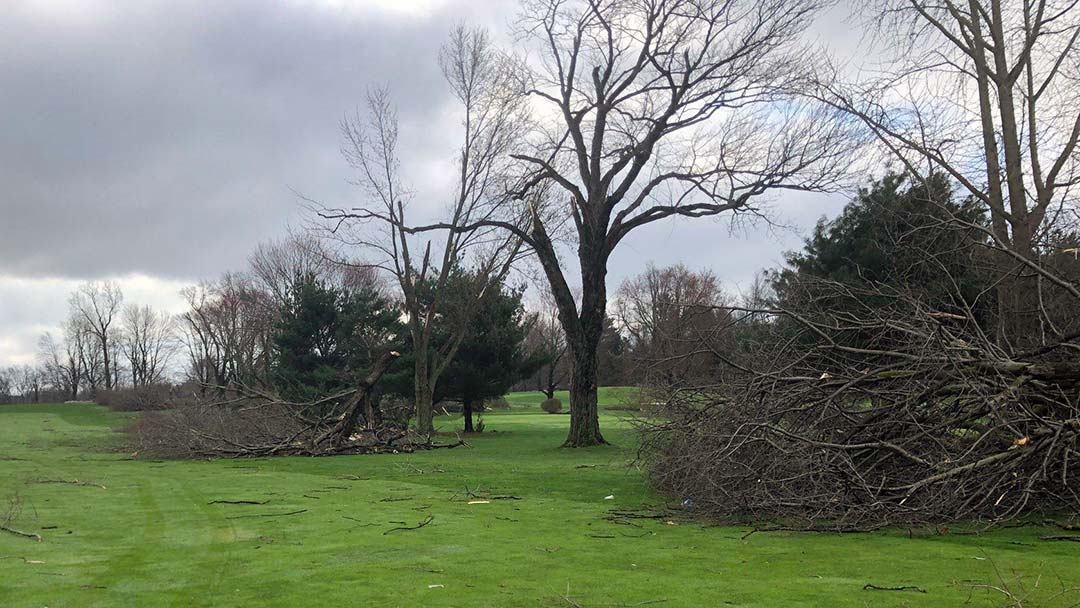 Storm Damage at Turkeyfoot on Weds, April 8, 2020